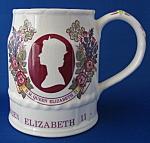 Queen Elizabeth Ii Tankard Silver Jubilee Masons Lg Mug
