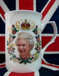 Mug Queen Elizabeth Ii Diamond Jubilee English Bone China Photo Gold
