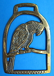 Vintage Horse Brass Parrot In A Cage England Pub Brass Birds