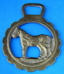 Horse Brass Standing Horse In Harness Vintage Sussex