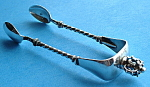 Sugar Tongs Crown Finial Continental Silver Antique
