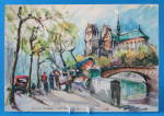 Postcard Signed M Girard Watercolor Paris Notre Dame