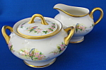 Cream And Sugar Hand Painted Birds Antique Heavy Gold