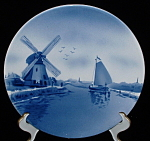 Antique Delft Plate Windmill Boat Victorian Wall Plaque