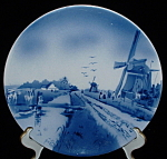 Antique Delft Plate Windmill Canal Victorian Blue White