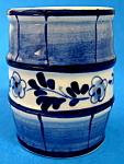 Delfts Blue Toothpick Holder Barrel Floral Band Holland