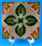 Gothic Majolica Tile English Mid Victorian Green Brown