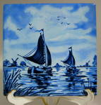 English Delft Like Tile Blue And White Sailing Scene