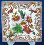 Brown Transfer Daisies Wall Tile English Victorian Era