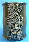 Celery Jar Figural Face Pot England Green Glaze Green Man
