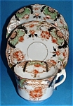 English Imari Cup Saucer Plate Victorian Antique Hudson