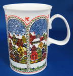 Dunoon Sue Scullard Christmas Mug Snowy English Village
