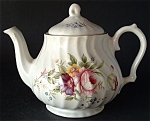 Teapot England Bone China Floral Molded Swirl Tea Pot