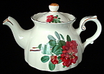 Teapot England Red Blossoms Royal Patrician Bone China