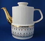 Coffee Pot Teapot Gibson Retro White Gold England