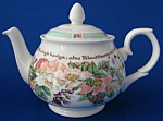 Teapot English Bone China Country Flowers Poetry