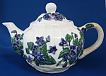 Teapot Large Ceramic Raised Violets In Basket Pretty