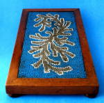 Victorian Beaded Trivet Teapot Stand English Wood Frame