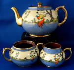 Art Deco Tea Set Teapot Cream Sugar Fantastic Birds Uk