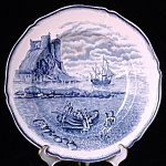 Plate Blue Transferware Galleon Steventon Antique Ship