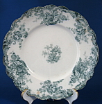 Teal Transferware Plate Wilkinson Arcadia Antique Flora