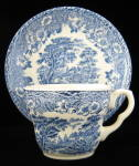 Transferware Cup And Saucer Eit England Blue Antique