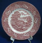 Barratts Red Transferware Plate Old Castle Ironstone