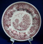 Barratts Red Transferware Plate Elizabethan Luncheon