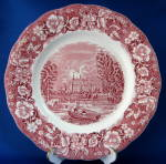 Palissy Pink Transfer Plate Thames River Eton College