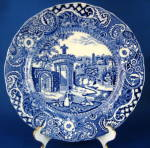 Blue Transferware Plate Landscape Midwinter Antique