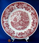 Barratts Red Transferware Dinner Plate Elizabethan
