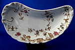 Floral Transferware Bone Dish Crescent Antique English
