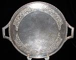 Vintage Plate Silver Hammered Leaves England Pedestal