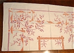 Tablecloth Vintage Linen Retro Palms Mosaic Purple Red