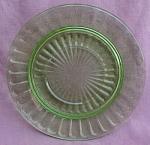 Green Depression Glass Pillar Optic Saucer