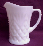 Milk Glass Milk Pitcher Diamond & Feather