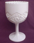 Milk Glass Hobstar Pattern Compote Pedestal