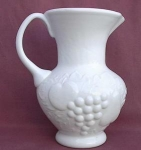 Milk Glass Fruit Motif Pitcher Applied Handle