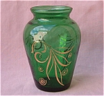 Forest Green Little Vase Gold Leaves