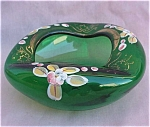 Forest Green Bohemian Bohemia Glass Ash Tray