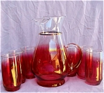 Vintage Ruby Flash Flashed Beverage Set W/pitcher