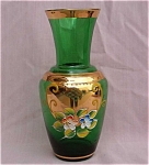Bohemian Forest Green Art Glass Vase.