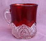 Mckee Glass Heart Band Ruby Flashed Mug Cup