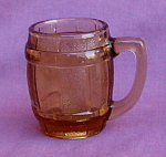 Dark Amber Glass Barrel Mug Toothpick Holder.