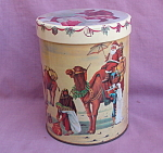 Christmas Tin Santa On Camel With Umbrella.