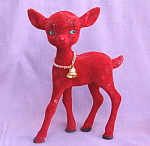 Vintage Red Flocked Plastic Deer Christmas Figurine