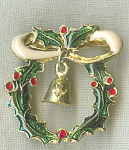 Enamel Chrsitmas Holiday Wreath Pin