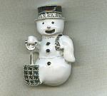 Rhinestone Snowman Holiday Brooch Pin