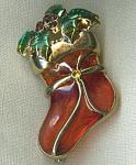 Christmas Holiday Stocking Brooch Pin