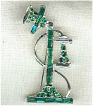 Old Fashioned Telephone Rhinestone Pin Brooch